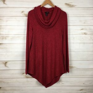 Cowl Neck Ribbed Tunic Sweater Asymmetrical Hem